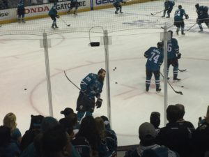Brent Burns and his Man Bun skate in warmups
