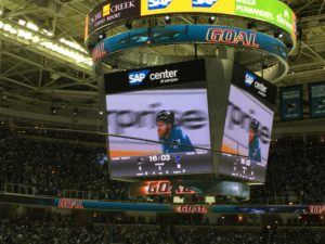 Pavelski scores the first goal of the game.