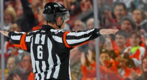 Ref signals no goal after Patrick Marleau scores in the first period