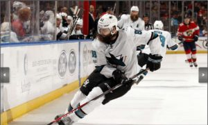 Brent Burns skating and creating down low.