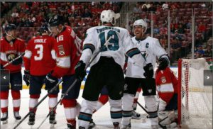 C Joe Pavelski celebrates with his fellow Joe and linemaet on his 300th goal.