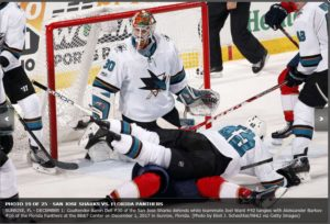 AaronDell is strong in goal as Joel Ward pancakes a Panther in front of the net.