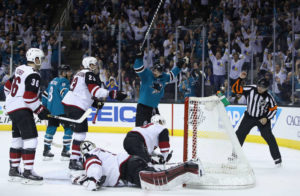 Marc-Eduard Vlasic with the winning OT pickle in Saturday nights game against Arizona